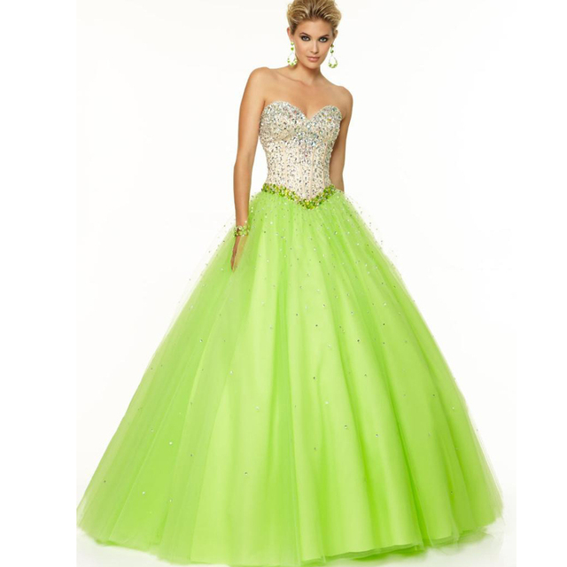 cc2c997eb66 2016 New Fashion lime green Quinceanera Dresses Crystals Sequins Tulle  Cheap Long Floor Length Backless Ball Gowns sweet 16