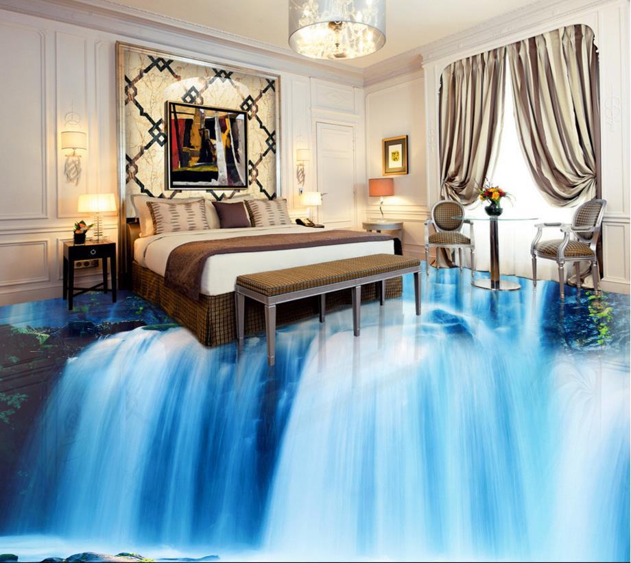 ФОТО 3D floor sticker custom creative 3d floor waterfall non-slip waterproof self adhesive for floor tiles