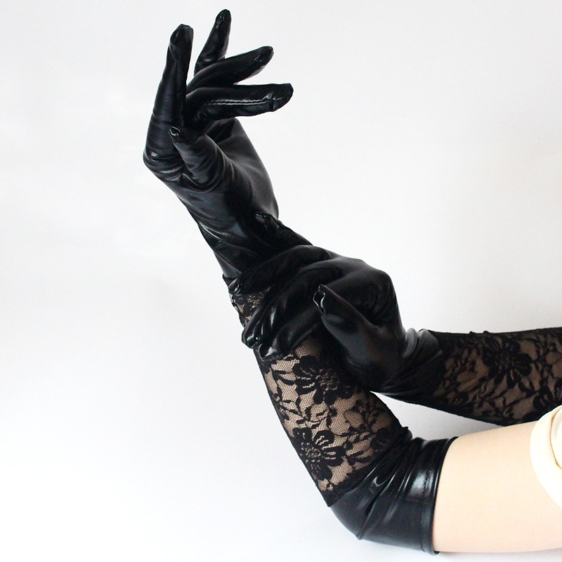 Sexy Long Satin Fishnet Black Lace Gloves For Women