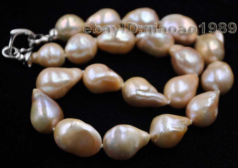 Big 12-16*14-22mm Baroque Nucleated real pearl necklace