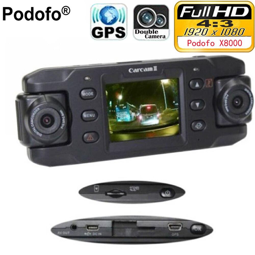 Podofo Dual Lens Car Camera X8000 with GPS Full HD 1080P G-sensor Dual 180 degree rotating lens Vehicle DVR Dash Cam Recorder full hd 1080p vehicle blackbox dvr with g sensor