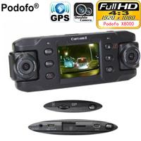 Podofo Dual Lens Car   Camera   X8000 with GPS Full HD 1080P G-sensor Dual 180 degree rotating lens Vehicle   DVR     Dash   Cam Recorder