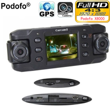 Podofo Dual Lens Car Camera X8000 with GPS Full HD 1080P G-sensor Dual 180 degree rotating lens Vehicle DVR Dash Cam Recorder