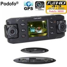 Podofo Двойной объектив автомобиля Камера X8000 с GPS Full HD 1080 P g-сенсор двойной 180 градусов вращения объектива автомобиля DVR регистраторы Регистраторы