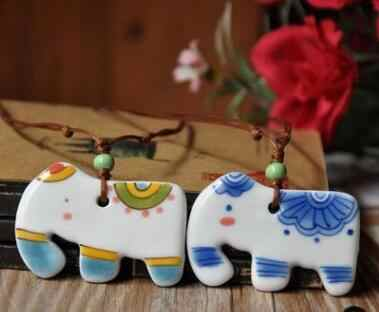 New Arrival Ceramic Jewelry Cute Cartoon Necklace, Elephant&Cat Pendant, Pure Hand-painted Elephant Female Necklace