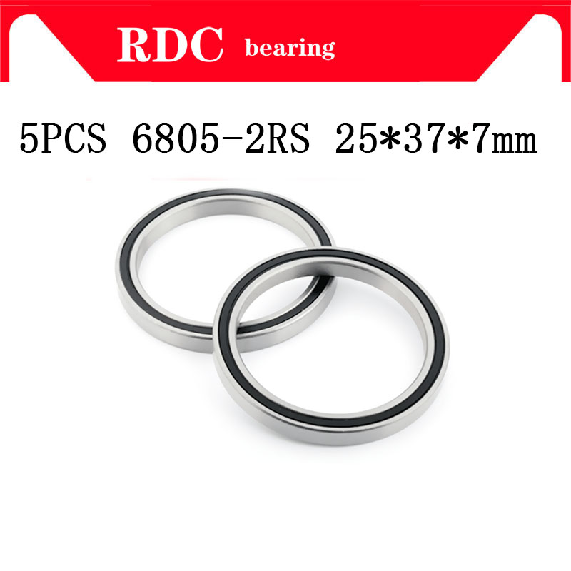 Free Shipping 5PCS ABEC-5 6805-2RS High quality <font><b>6805RS</b></font> 6805 2RS RS <font><b>25x37x7</b></font> mm Thin Wall Rubber seal Deep Groove Ball Bearing image