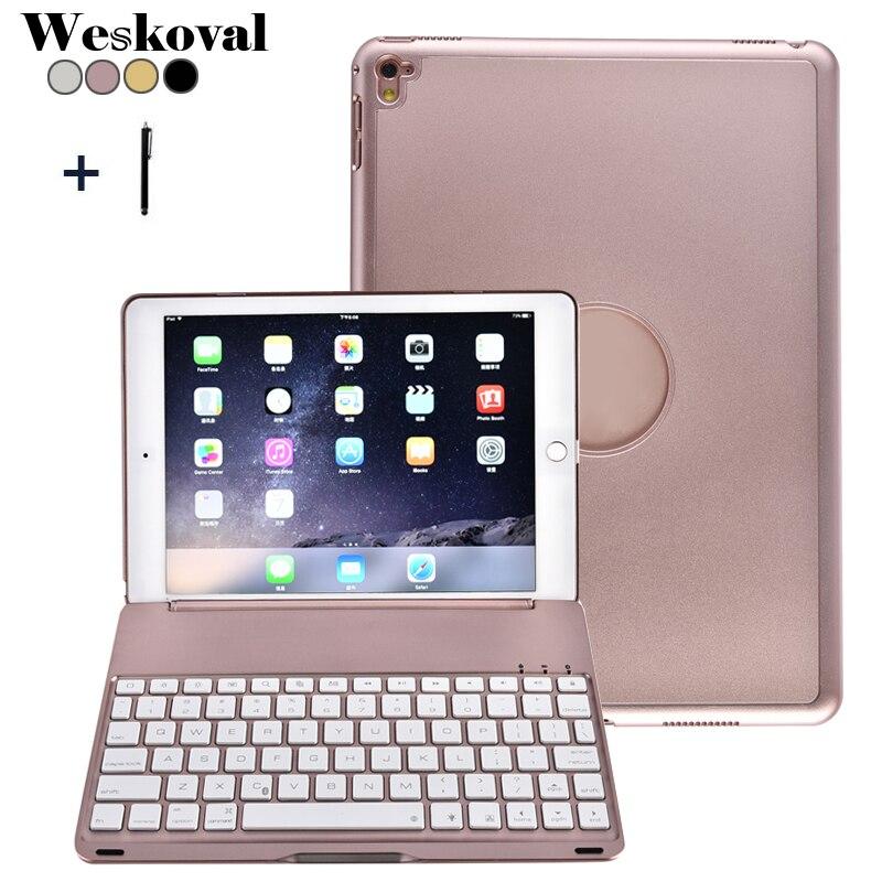 Для iPad Pro 9.7 2016 Беспроводной Bluetooth клавиатура чехол для iPad Pro 9.7 (2016) алюминий сплав Планшеты откидная крышка Подставка + Стилусы