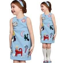 Голубой животное рисунок элегантный Styple платье ребенка ну вечеринку принцесса одежды детей синее платье от 2 — 7 лет