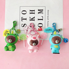 Jungle series Brown Bear toy Keychain bear with bell Toy keychain Gift Doll Bag Pendant cute cartoon gift for kids keyring