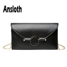 Ansloth Quality PU Leather Clutch Bag For Women Solid Color Evelope Bag Lady Chain Evening Party Bag Female Messenger Bag HPS621 brown leather look solid color clutch bag