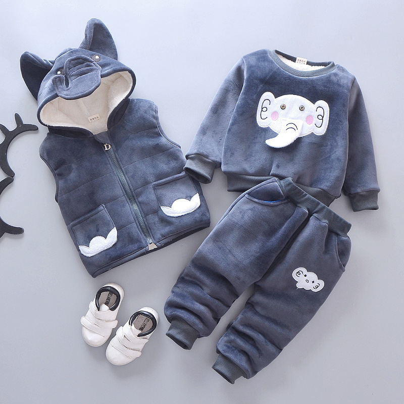 Newborn Baby Boys Clothing Sets Autumn Winter Toddler Cartoon Thick Velvet Vest+tops+pants 3pcs Tracksuits For Bebe Girls Infant