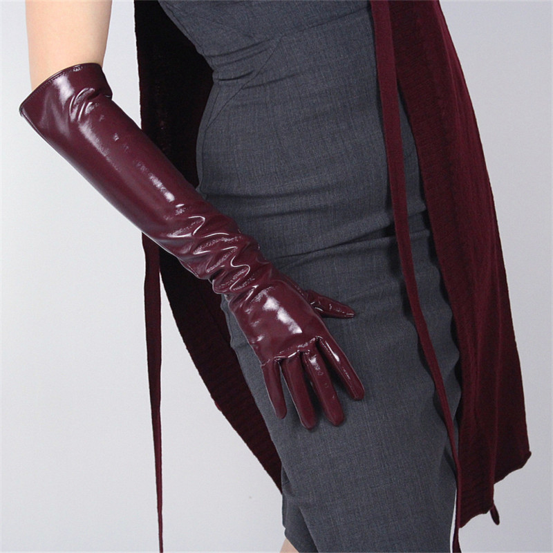 Patent Leather Long Gloves Woman Long Simulation Leather PU Leather Gloves Mirror Bright Leather Dark Red 50cm P54