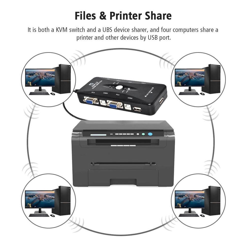 Ingelon 4 port kvm switch USB 2.0 VGA Splitter Printer Mouse Keyboard Pendrive Share Switcher 19201440 VGA Switch Box Adapter (2)
