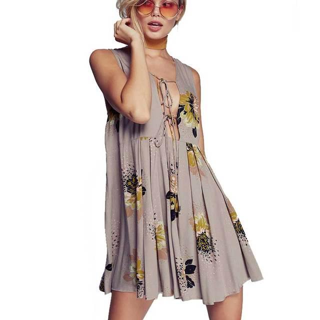 26 59 Sexy Boho Mini Dress 2017 Summer Vintage Floral Cotton Bohemian Holiday Dresses Sleeveless Casual Women Dress Vestidos Clothing Dans Robes De