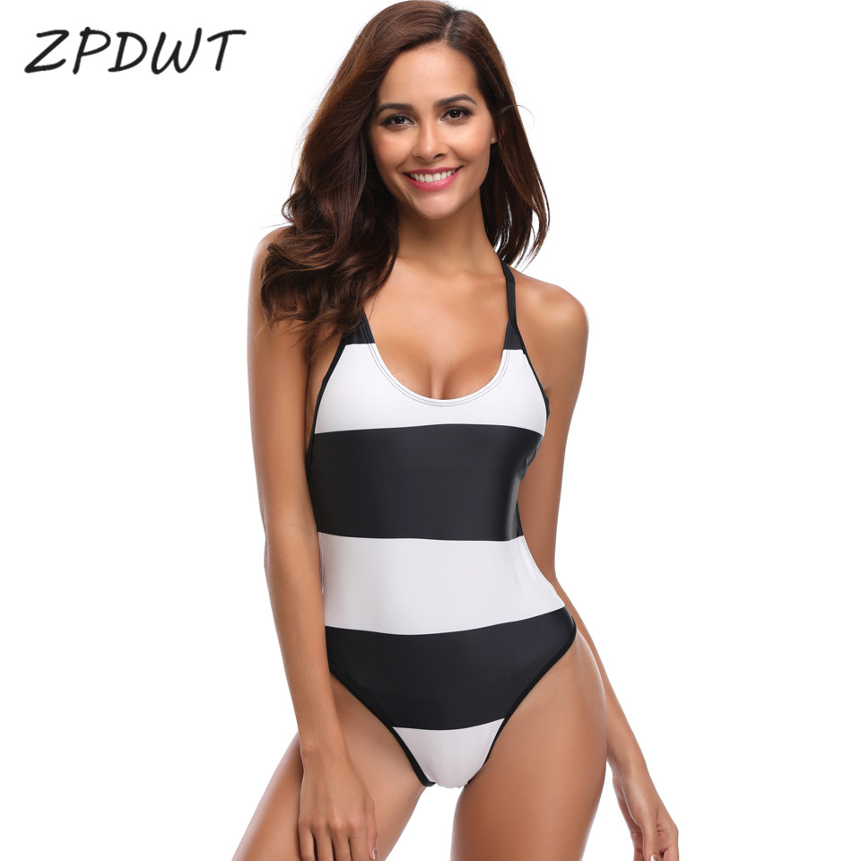 Buy ZPDWT Striped Monokini One Piece Swimsuit Women Swimwear Sexy Bodysuit Monokini One Piece Bathing Suit Swimming Costume Trikini