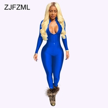 ZJFZML Womens Jumpsuit Long Sleeve Skinny Causal Outfits Rompers Female Front Zipper Overalls V Neck Party Club Sportsuits