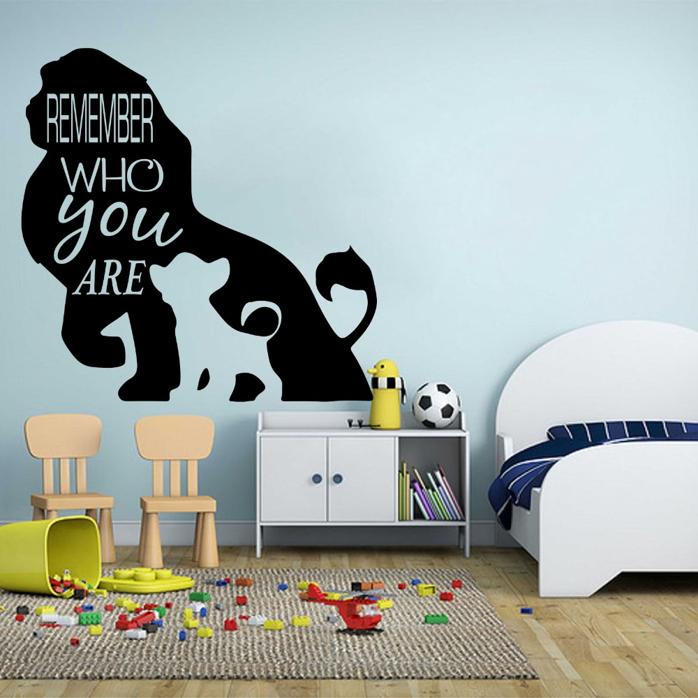 Us 9 04 15 Off Cartoon Lion King Wall Decals Kids Room Bedroom Remember Who You Are Quote Simba Sticker Nursery Vinyl Decor Art In