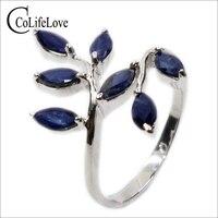 Классический Серебряный лист кольцо 7 шт. 3 мм * 6 мм натуральный темно-синие кольцо с сапфиром Для девушку Настоящее серебро 925 кольцо с сапфи...