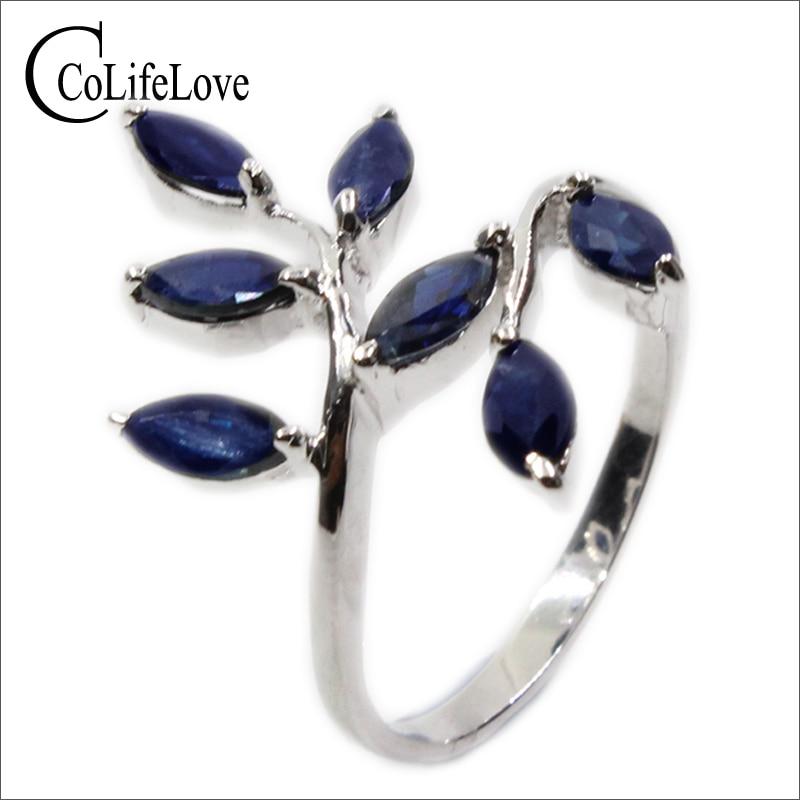 Classique argent feuille anneau 7 pièces 3 mm * 6 mm naturel bleu foncé saphir anneau pour femme réel 925 argent saphir anneau romantique cadeau