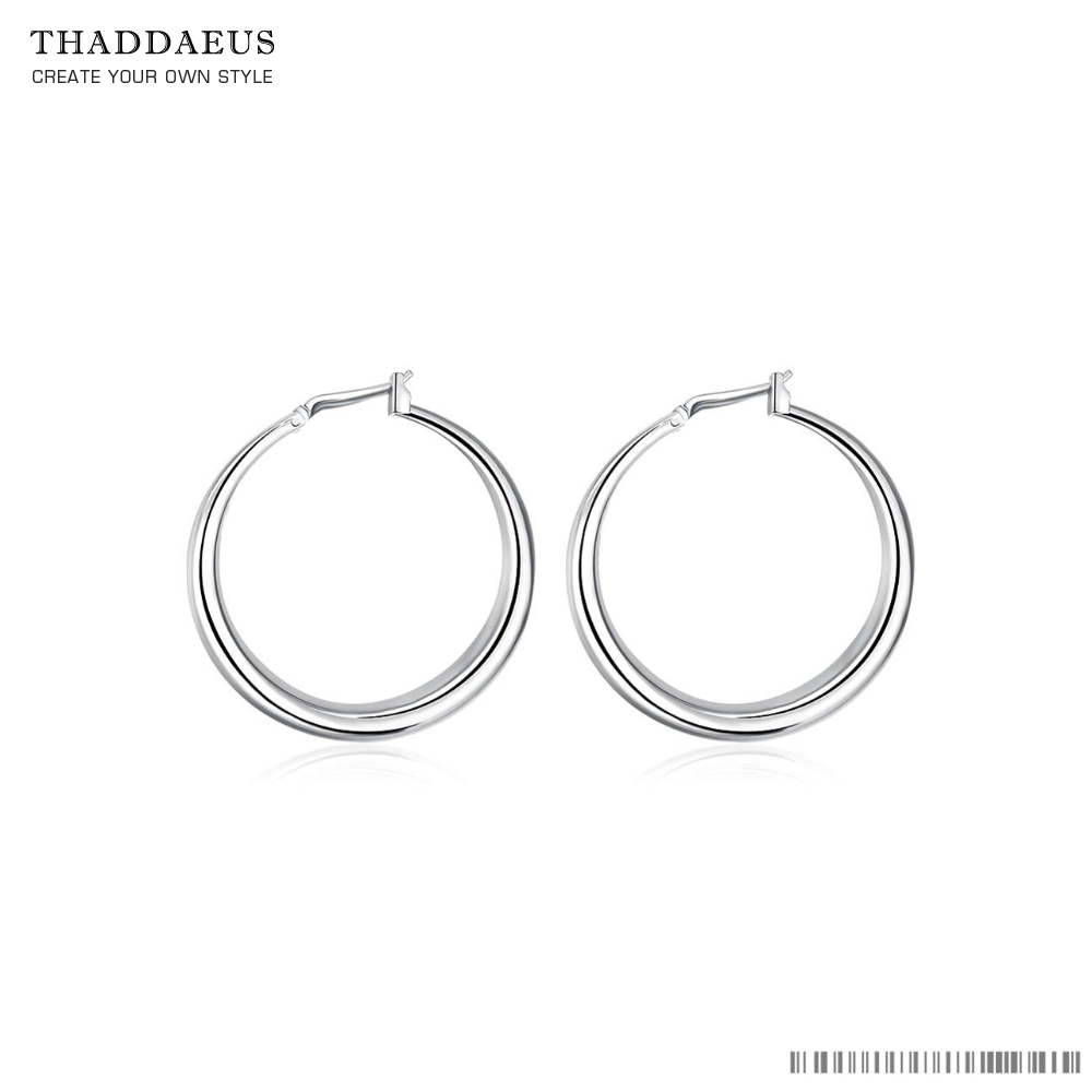 Round Women Ear Studs,Fashion Round Silver Ear Ring Trendy Silver Plated Gift