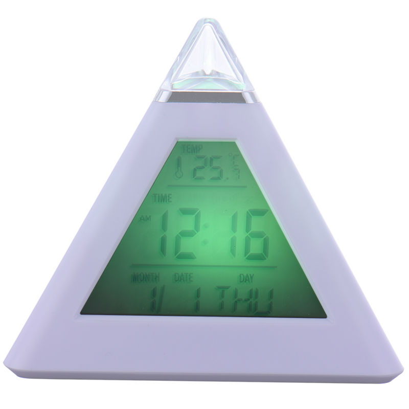 home table digital clock triangle desk clocks with led light changing color led thermometer clock gift - Desk Clocks