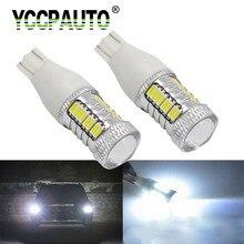 Yccpauto 2 pces t15 w16w conduziu a luz reversa do carro 921 912 t15 lâmpadas led para o automóvel conduziu a lâmpada de estacionamento luz de backup 4014 32smd branco 12 v