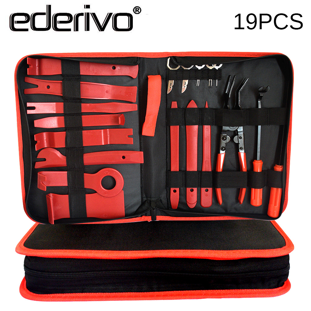 Ederivo Car Fasteners Removal Tools Car Door Panel Engine Cover Fender Clips Installer Repair Tools Car Audio Assembly Fix Tools universal car door panel plastic snap push pins fasteners clips black 20 pcs