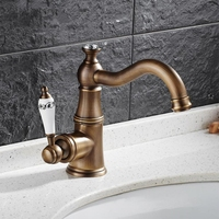 High Quality Hot & Cold Water Basin Faucets Single Handle Bathroom Basin Mixer Antique Tap Deck Mounted