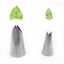 2 pces folhas dicas de decoração do bolo folha de aço inoxidável piping bocais ferramentas de decoração do bolo bakeware bico de bolo # 113l #352