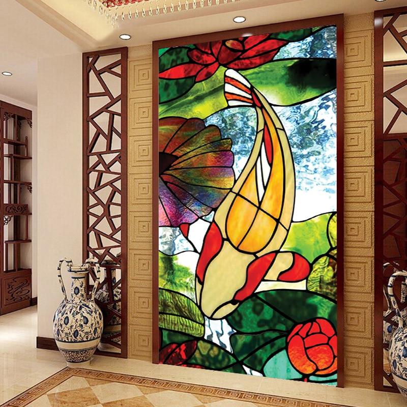 الملونة غشاء نافذة بلوري الزخرفية الملون لاصق زجاج الذاتي