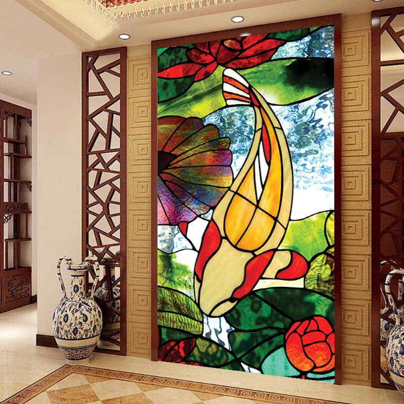 Colored frosted window film decorative stained glass