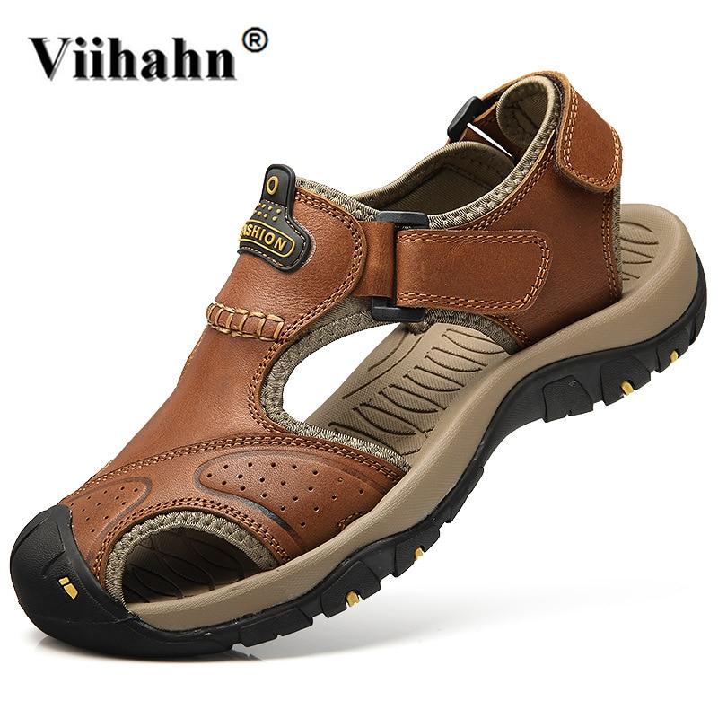 Viihahn Mens Sandals Genuine Leather Summer Slippers Outdoor Beach Men Casual Shoes Plus ...