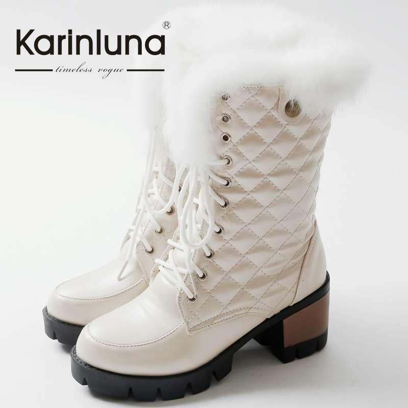 ФОТО 2016 Sweet Style Shoes Mid-Calf Boots Solid Round Toe Platform Shoes Square High Heels Lace Up Design Women Winter Boots