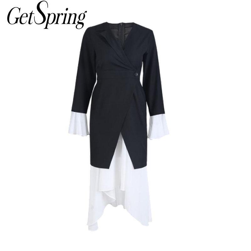 GETSRING Woman Dresses Irregular Flare Sleeve Black White Color Matching Vintage Dress Women Asymmetry V-Neck Long Dress 2019