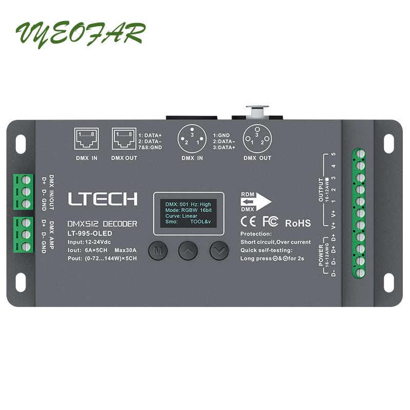 Ltech 5 канал Led DMX512 декодер DC12-24V вход; 6A * 5CH Max 30A выход RGB/RGBW Led контроллер XLR-3/RJ45 разъем Порты и разъёмы