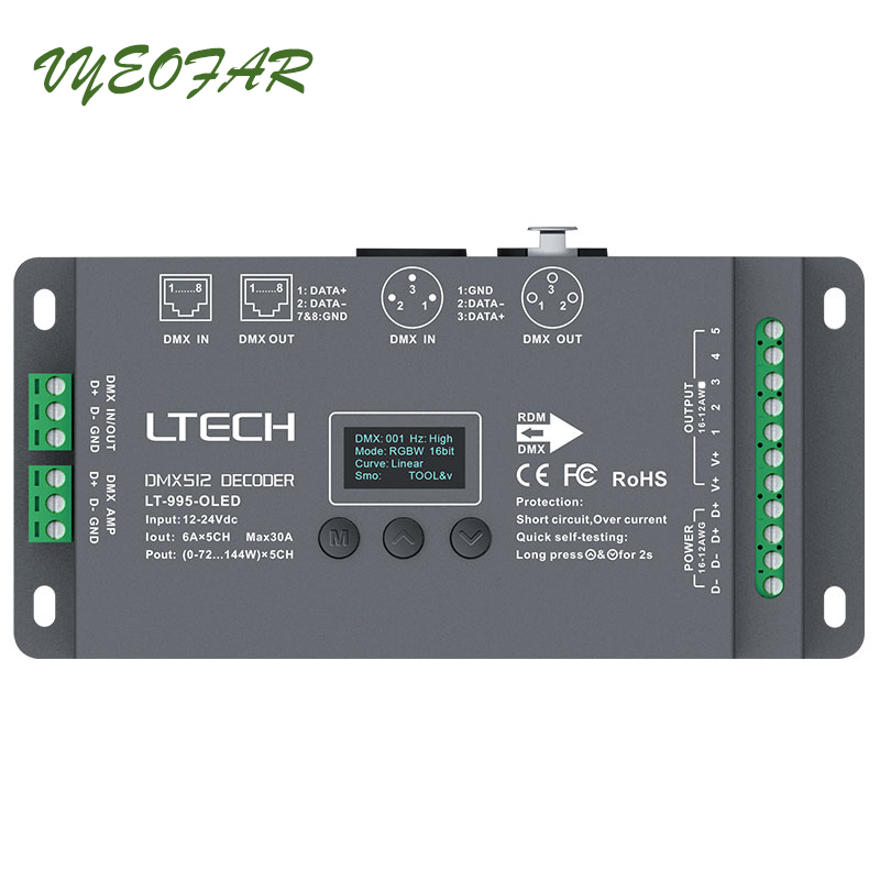 New <font><b>5</b></font> Channel Led DMX512 Decoder DC12-24V input;6A*5CH Max 30A output RGB/RGBW Led Controller XLR-3/RJ45 Connector Port image