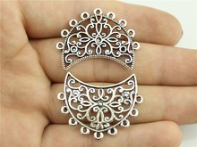 WYSIWYG 4pcs 33*25mm Antique Silver Color Moon Haert Many Hole Earring Connector Charms(China)