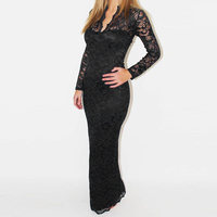 Fashion Ladies Sexy V Neck Slim Scallop Neck Lace Apparel Women Maxi Dress Long Sleeve Wedding