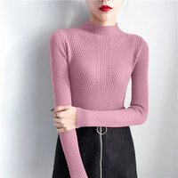 Fashion Sweater Female 2018 Slim Was Thin Korean Version Of The New Winter Wild Solid Color