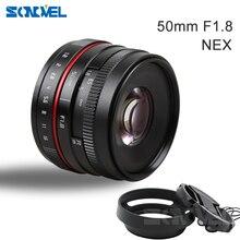 Nowy 50mm f/1.8 APS C F1.8 kamera obiektyw do sony E do montażu na A6500 A6300 A6100 A6000 NEX 7 NEX 6 serii NEX kamery
