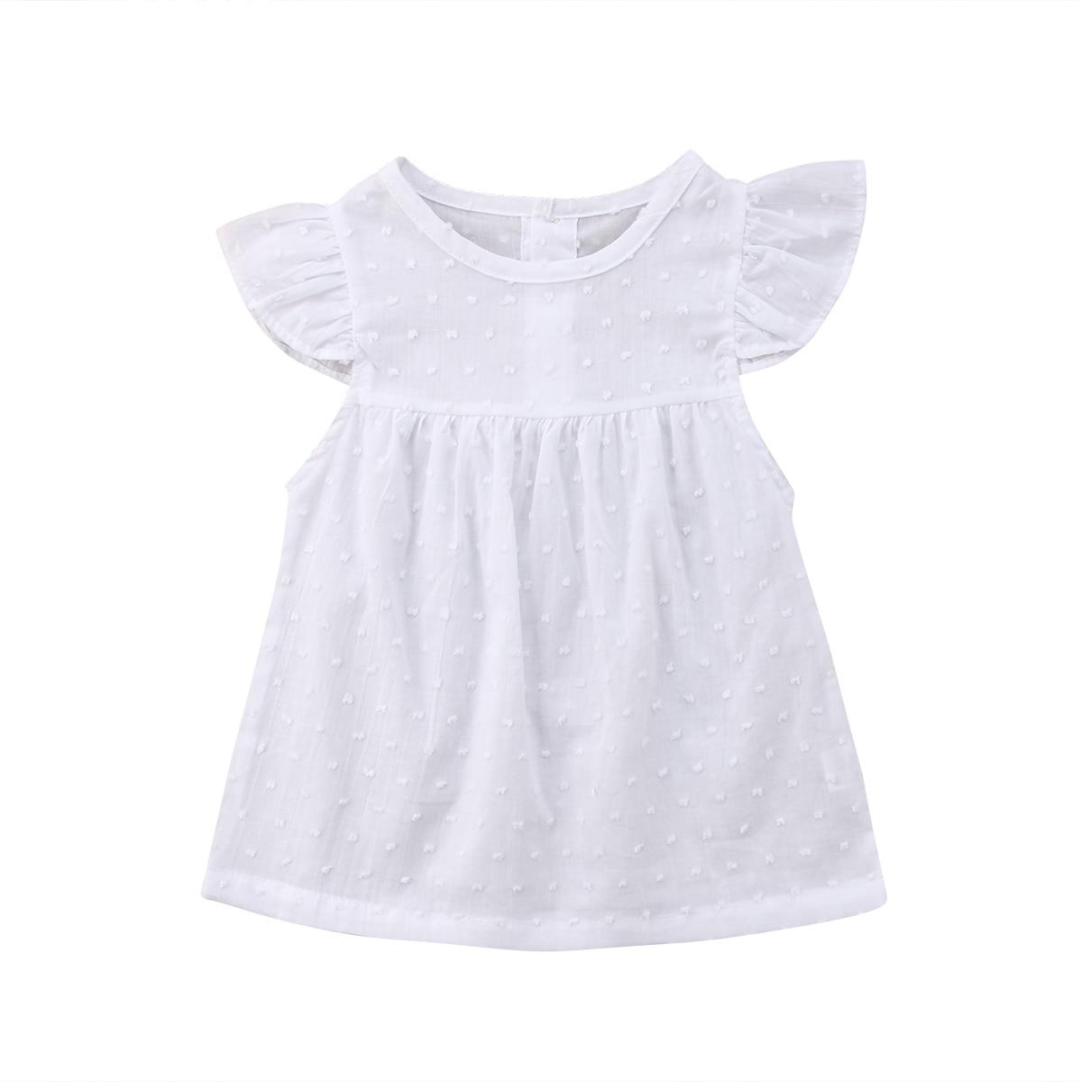 Pudcoco White Tutu Princess Baby Dress Toddler Infant Baby Girls Short Sleeves Dresses Summer  Praty Birthday Holiday Dress