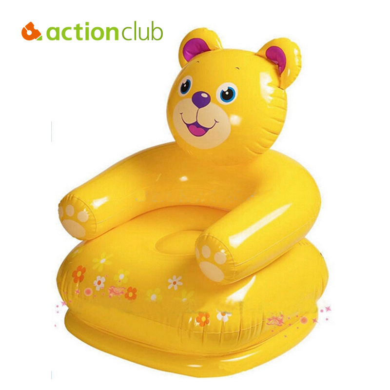 Actionclub High Quality Waterproof Inflatable Baby Chair For Feeding Bean Bag Bath Seat Kawaii Bear monkey Baby Sofa 64*61*74CM baby seat inflatable sofa stool stool bb portable small bath bath chair seat chair school