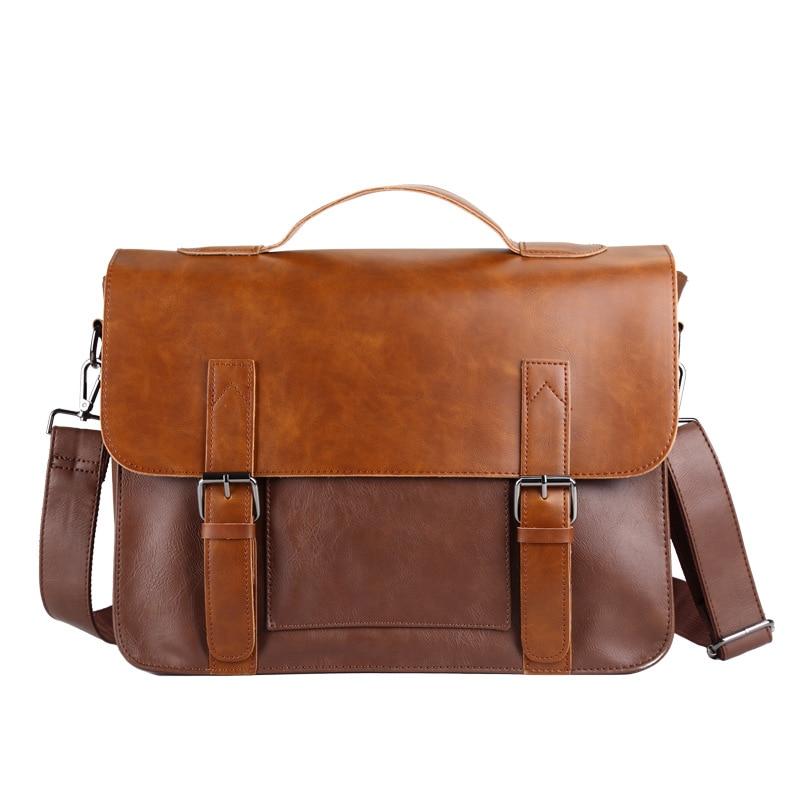 2019 Classic Designer Men's Briefcase Crazy Horse Leather Shoulder  Laptop Bag Male Hasp Crossbody Bags Retro Man Travel Bags