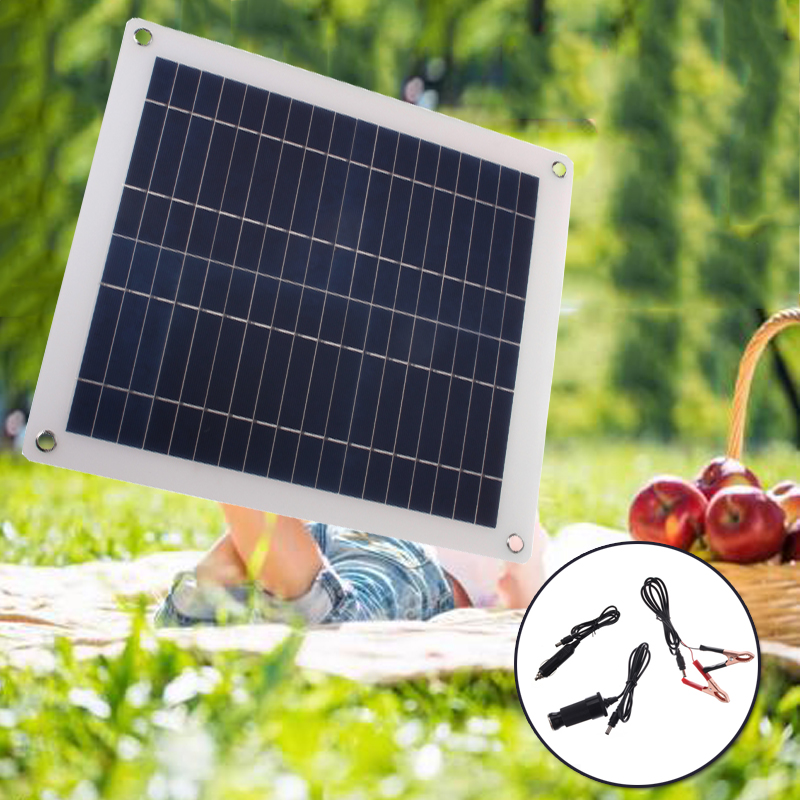 25W 12V 5V Solar Panel USB Portable Power Bank Board External Battery Charging Solar Cell Board DIY Clips Outdoor Travelling 12v 5v 110v 240v 97200mah 400wh li polymer usb high drain rechargeable solar panel battery for outdoor emergency power bank