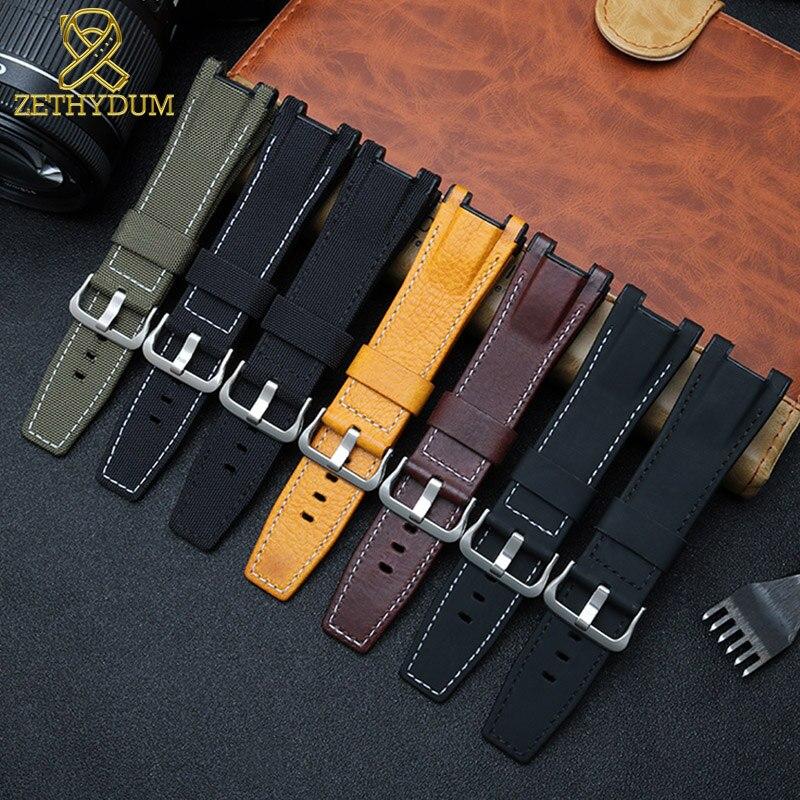 Pulseira de couro genuíno para casio GST-B100/S130/W300GL/400G/W330 GST-W120L/S120/W130L /S100/S110 mens pulseira de relógio pulseira 26mm