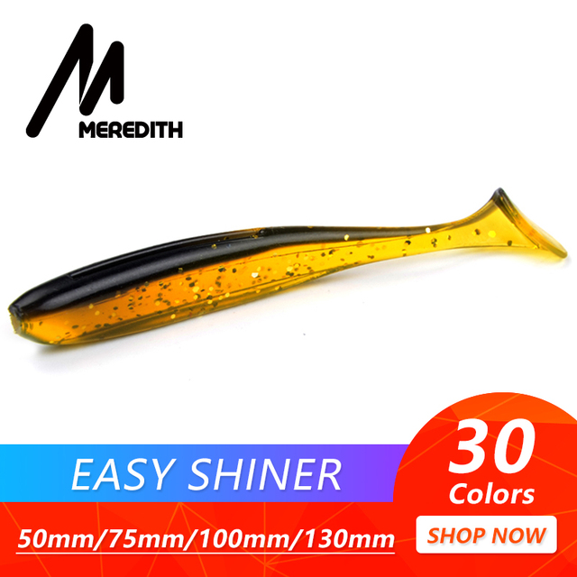 Meredith Easy Shiner Fishing Lures 50mm 75mm 100mm 130mm Wobblers Carp Fishing Soft Lures Silicone Artificial Double Color Baits