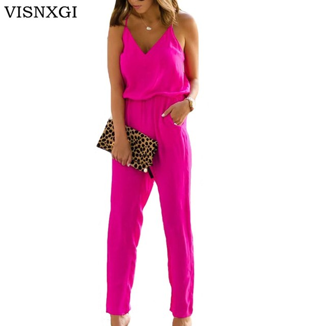 5a392aa8222 VISNXGI Sexy Women Off Shoulder Jumpsuit Rompers Spaghetti Strap Wide Legs  Bodycon Jumpsuit 3 Colors Solid Romper Trousers