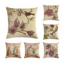 Retro Flowers Cushion Cover Ink Painting Style Bird Butterfly Print Linen Pillowcase Home Vintage Decor for Sofa Bedroom 45x45cm