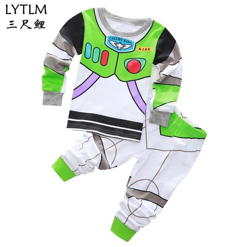 LYTLM Buzz Lightyear Toddler Boy Clothes   Set   Cartoon Woody Pijama Infantil Kids Sleepwear Suit Fashion Top+Pant Home Wear Cotton