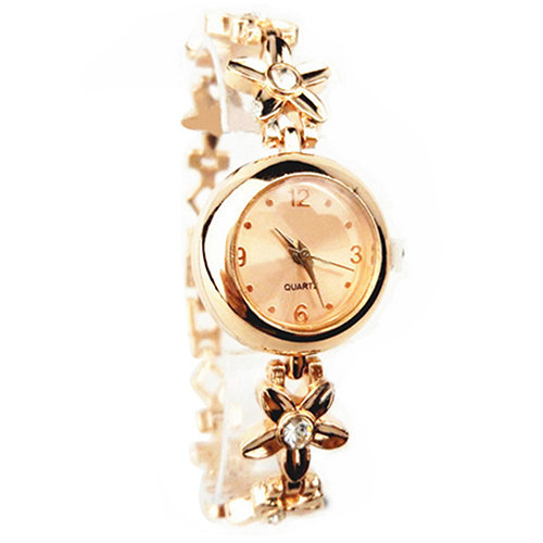часы кварцевые браслет с золотыми вставками в виде цветка фото